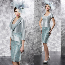 Hot Sale 2015 Elegant Mint Green Short Knee Length Lace Mother Of The Bride Dresses With Jacket(MO8119)