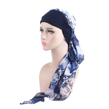 2019 New Women Chemo Cap Turban Long Hair Band Scarf Head Wraps Hat Boho Pre-Tied Bandana Hair Accessories for Women(China)
