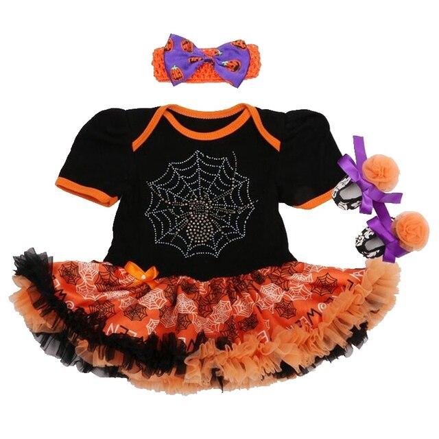 Прохладный Паутина Черный Хеллоуин Костюм Для Детей, Девочка Боди Платье Детская Кровать В Обуви Повязка Новорожденный Пачка Устанавливает Детской Одежды