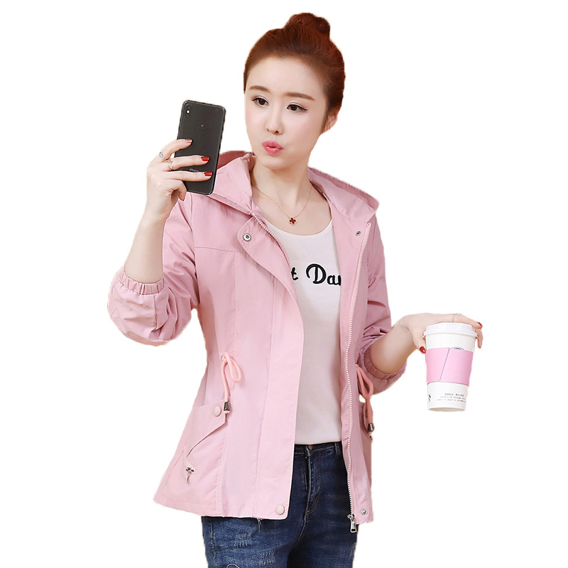 New Fashion Plus Size Women Coat 2019 Spring Autumn Casual Hooded Short paragraph   Trench   Coat Female Slim Solid Thin Outerwear