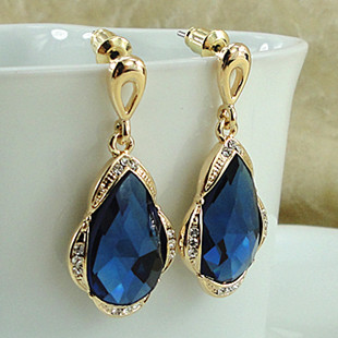 Free Shipping Navy Blue Earrings Luxury Clic Color Gold Le Long Drop Personalized Design