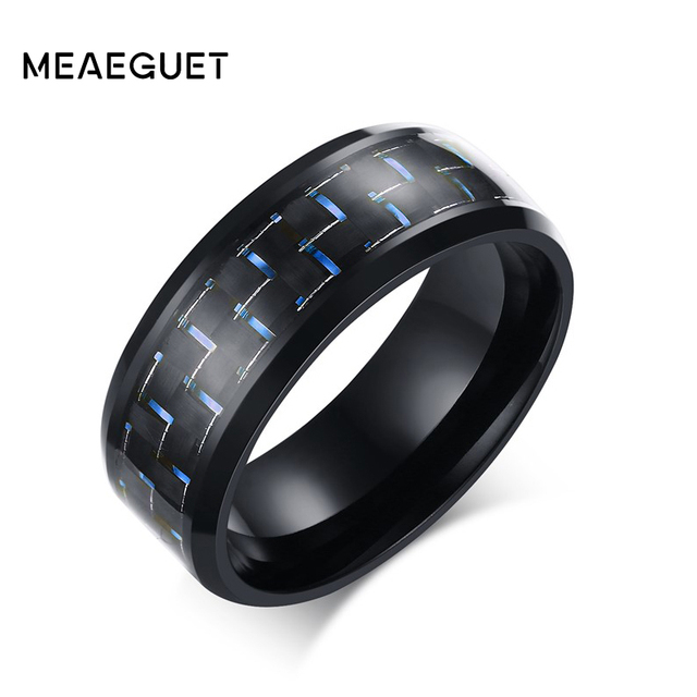 Meaeguet Jewelry Simple Blue/Black Carbon Fiber Inlay Ring For Men Stainless Steel Wedding Band Engagement Ring USA Size 7-12