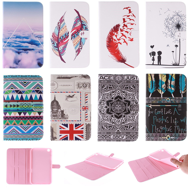 Fashion Feather Lotus Pattern PU Leather Flip Wallet Case For Samsung Galaxy Tab 3 8.0 T310 SM-T310 SM-T311 Back Cover Coque