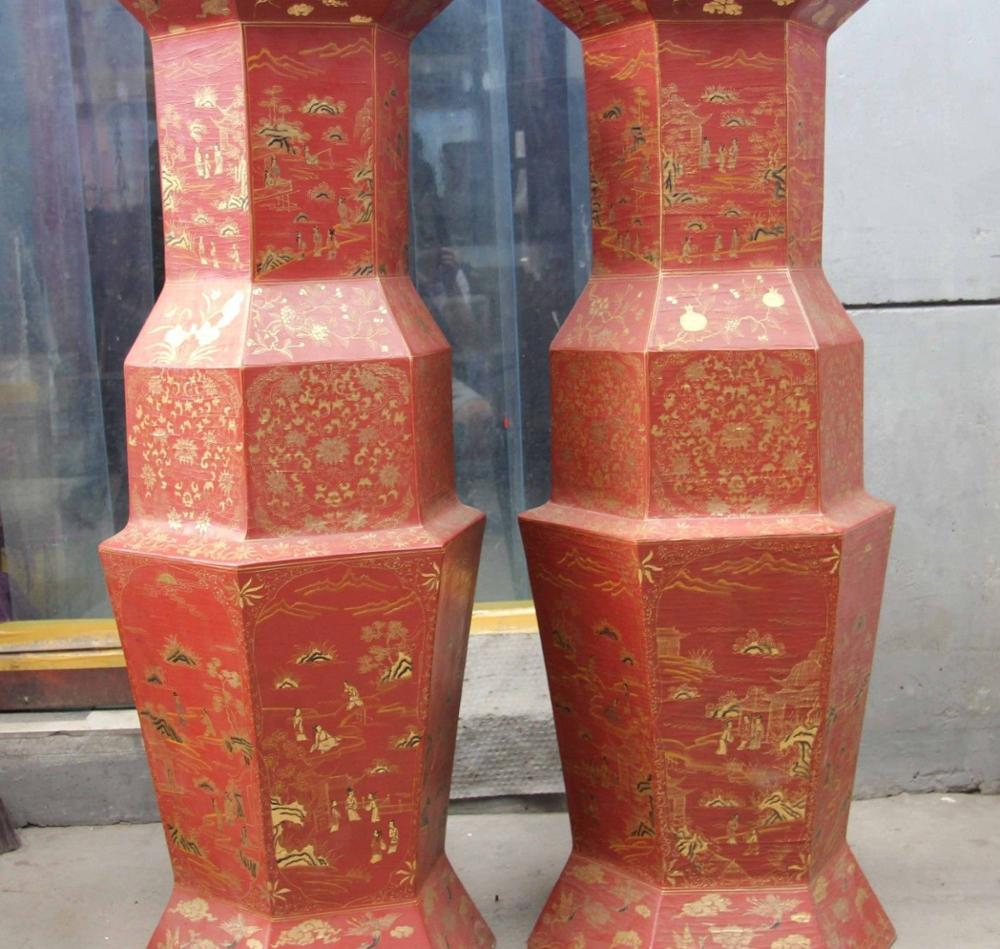China Shan Xi Folk Wood Lacquer Ware Outline In Gold Six Edges Pot Vase Pair