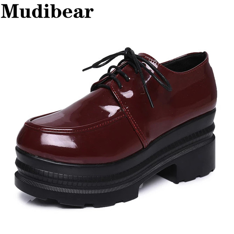 Mudibear High-heeled shoes Paint Leather Single Women Shoes Ladies casual sexy thick heels platform pumps Black Wind Red 35-39