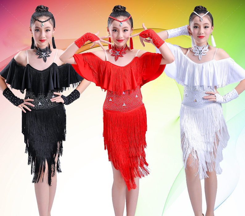 Children Tassel Bright Drill Black Red White Latin Salsa Dress Child Girls Kids Latin Dance Dresses Girls Latin Dance Costumes
