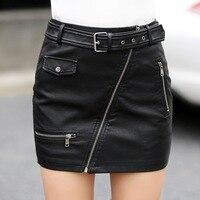 Thời trang pencil PU leather váy womens hot dây khóa kéo eo cao túi bọc hip ngắn bandage váy nữ cộng với kích thước với vành đai