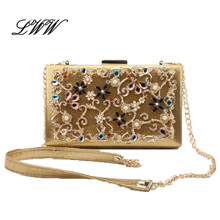 Fashion Evening Clutch Bags for Ladies Vintage Hollow Out Colorful Diamonds Flowers Minaudiere Women Shoulder Crossbody Bags