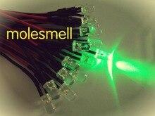 1000 Uds 5mm 12v verde agua claro redondo lámpara de luz LED pre cableado 5mm 12V DC cableado