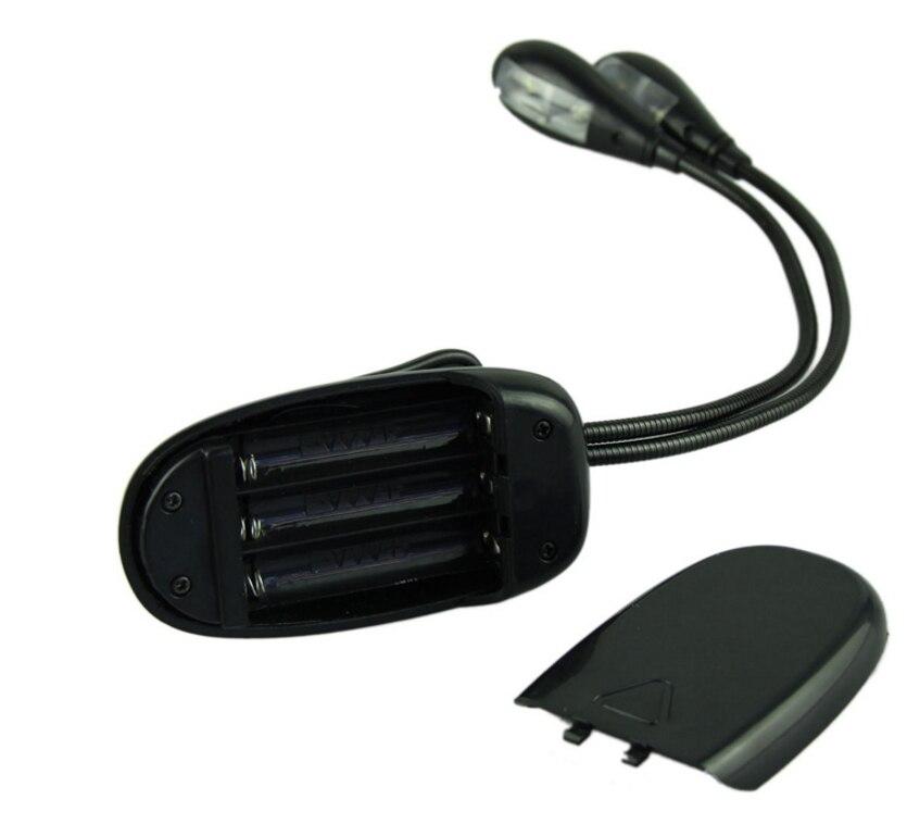 2 Arms 4pcs LED Adjustable Clip Portable Book Light for Reading Desk Lamp Book Eye