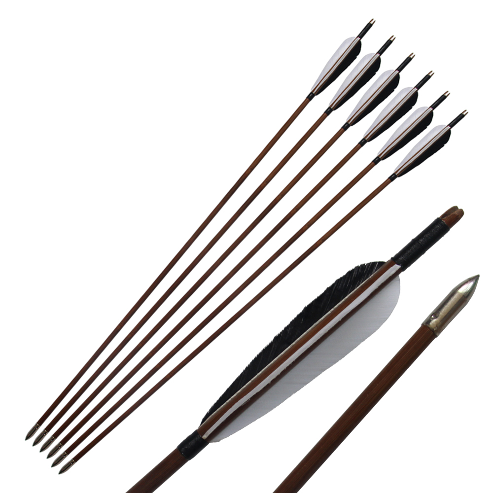 6Pcs 33 Traditional Real Turkey Feathers Bamboo Shaft Arrows For Long Bow/Recurve Bow tango кпб bamboo 3d digital 1331 33