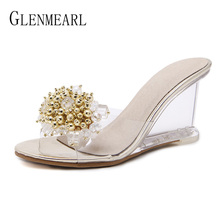 купить Brand Women Slippers High Heels Shoes Summer Wedges Sandals Crystal Transparent Mules Shoes Woman Gold Plus Size Female Slippers по цене 1318.6 рублей