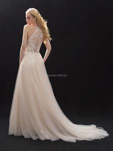 Image 3 - Halter High Neckline Lace Tulle Wedding Dresses Beaded Sash 2020 Off Shoulder Floor length Bridal Gowns Champagne Wedding Dress