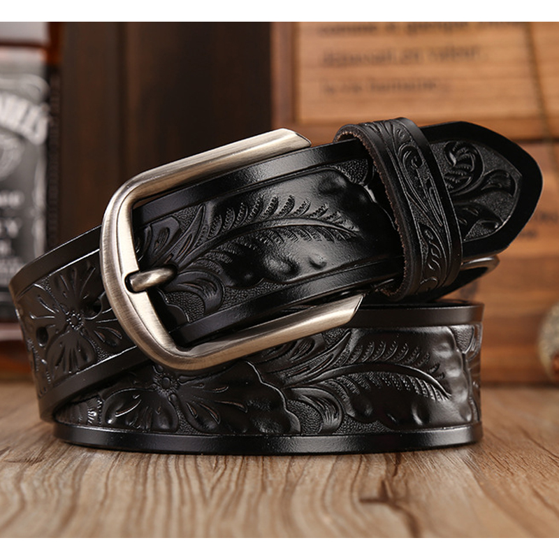 Men western leather belt cow genuine leather luxury strap leather belts for women new fashion floral emboss dropshipping