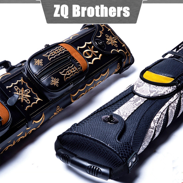 цена на Brands 2 Butts 4 Shafts ( 6 holes ) Cue Case Tube style cue bag 1/2 pool billiard cues Case Genuine leather cue box stick WJ341