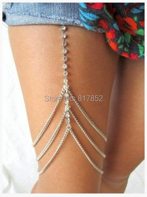 a051f4394 شحن مجاني نمط L009 الفضة مطلي الفضة حجر الراين سلاسل سلاسل جسم مجوهرات ثلاث  طبقات الفخذ الساق 3 ألوان