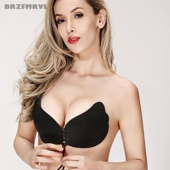 Sexy woman Push Up bra Self-Adhesive Silicone pad cup bra Bust Strapless Invisible bra Women Silicone Strapless Bra breast petal invisible bra