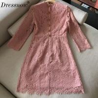 High Quality long dress for women summer fashion o neck lace dress long sleeve dress