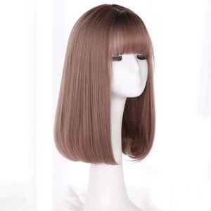 Image 3 - Yiyaobess peluca sintética de estilo coreano, pelo largo medio con flequillo, raíces oscuras, degradado, lino, gris, Natural, liso, para mujer