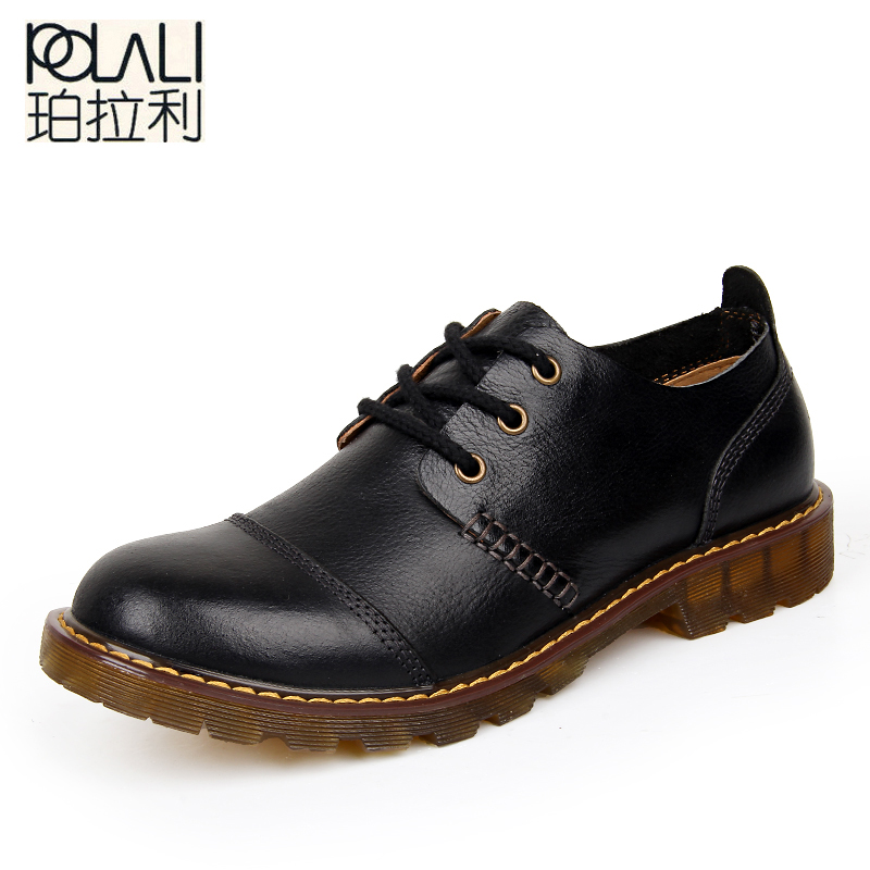 POLALI  Men Leather Shoes Casual New 2019 Genuine Leather Shoes Men Oxford Fashion Lace Up Dress Shoes Outdoor Work Shoe Sapatos