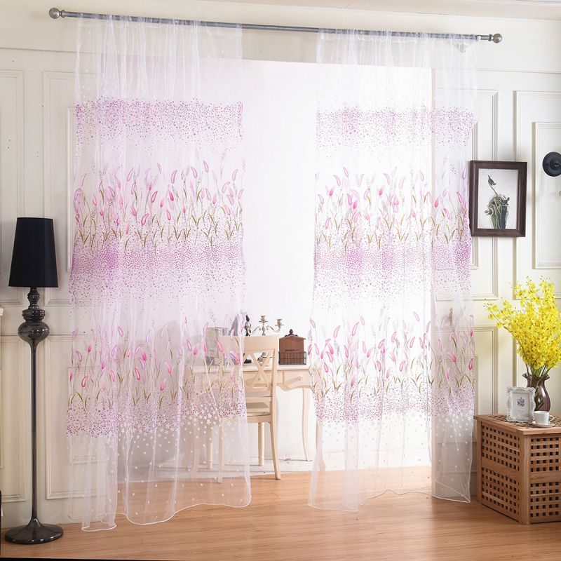 fashion tulle curtain cheap ready made finished organza child window floral cortina curtain for. Black Bedroom Furniture Sets. Home Design Ideas