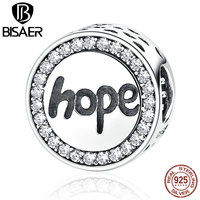 VOROCO Real 925 Sterling Silver Hope Letter Alphabet Charm Charms Fit Bracelets Necklaces For Women Fashion