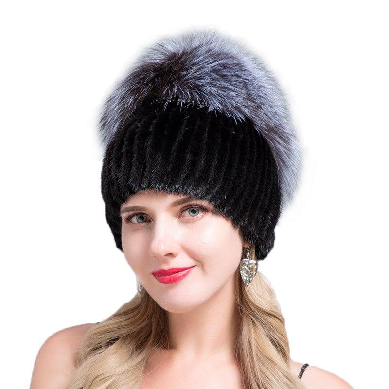 JERYAFUR 2018 pour véritable renard vison pour les femmes a mode casquettes bonnets femme naturel chapeaux d'hiver vertical de haute qualité