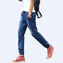 Для мужчин S джинсы Для мужчин шнурок Slim Fit Denim Joggers Для мужчин S джоггеры Джинсы брюки Для мужчин эластичные Жан карандаш Брюки Повседневное 5XL