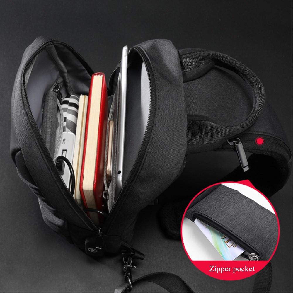 XINCADA Sling Bag Chest Pack Shoulder Crossbody Bags Mens Messenger Bag with USB Charging Port Small Bag Man Purse