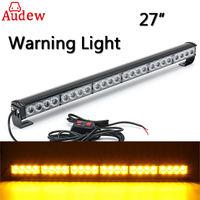27'' 12V 24 LED Car Emergency Traffic Advisor Flash Strobe Light Bar Warning Amber for Truck SUV