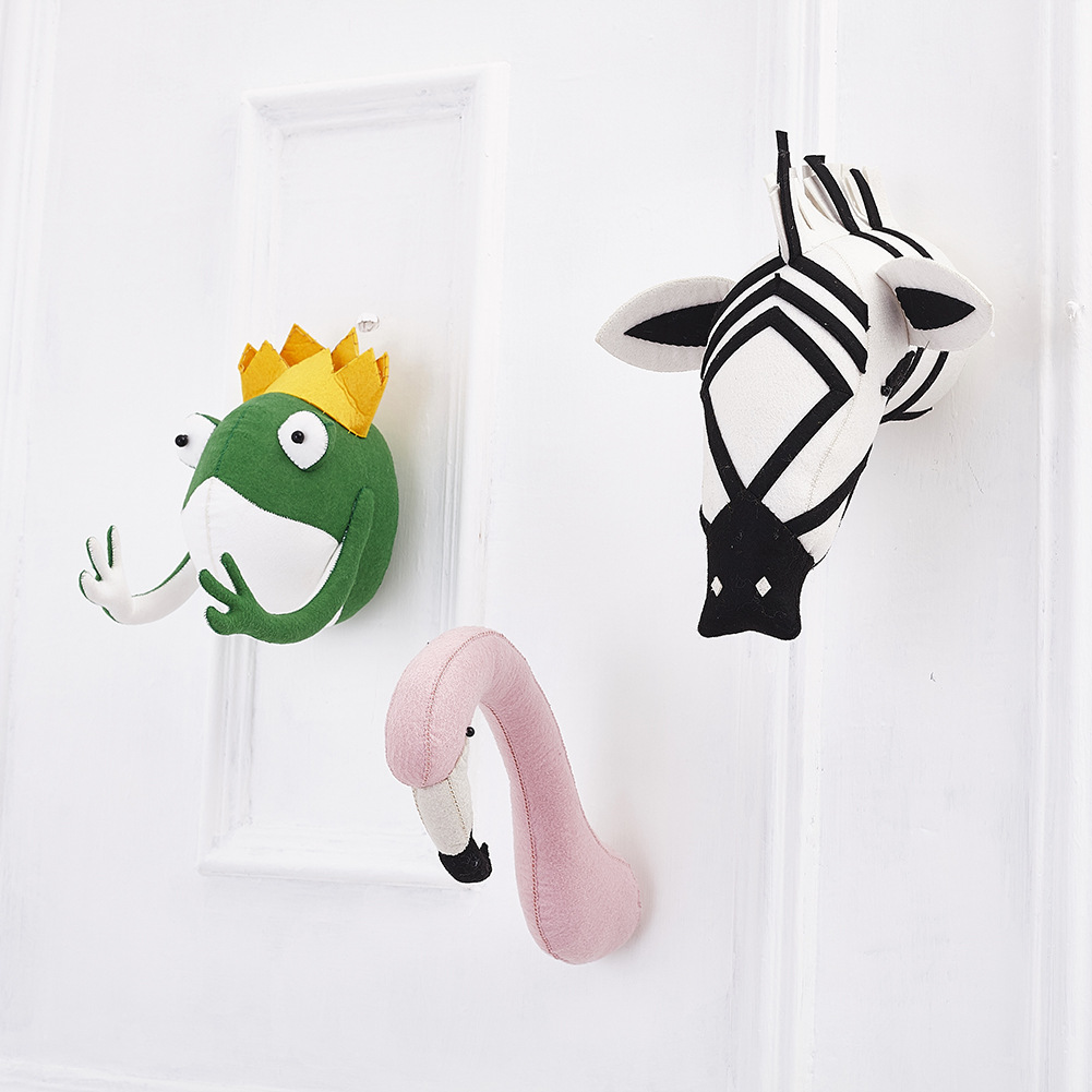 zebra Giraffe Flamingo tiger children's baby room wool felt animal head environmental protection wall decoration wall hanging цены