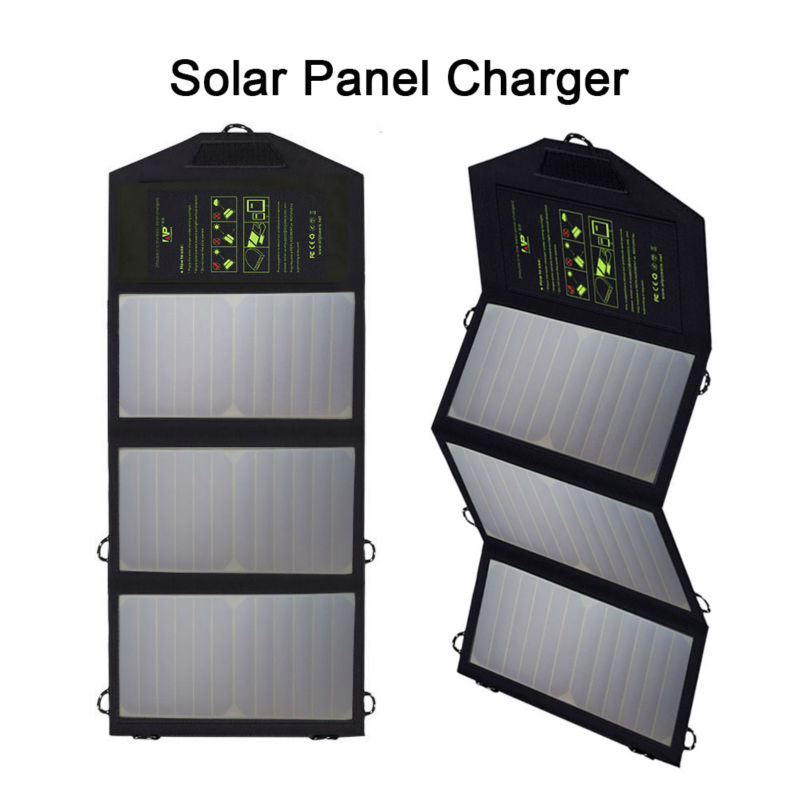 ALLPOWERS 5V 21W Chargers Solar-powered Portable Solar Panel Charger Dual USB Output for iPhone 5 6 6s 7 8 Plus Samsung Sony ect