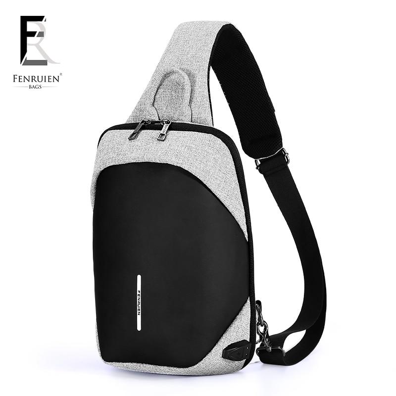 FENRUIEN Crossbody Bag for Men Messenger Chest Bag Pack Casual Bag Travel Waterproof Single Shoulder Strap Pack 2018 New Fashion
