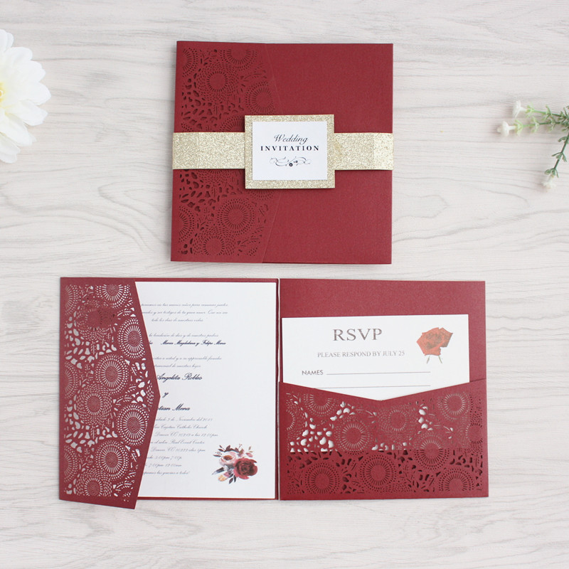 Burgundy flower laser cut wedding invitation with RSVP envelop glittery belly band tri fold pocket invites