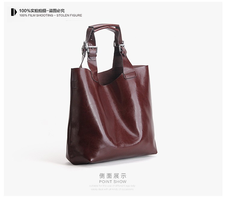 Big Bag Women Handbags Genuine Leather Oil Wax Cowhide Handbags Lady Real Leather shoulder Messenger Bags Generous Fashion Bag (13)