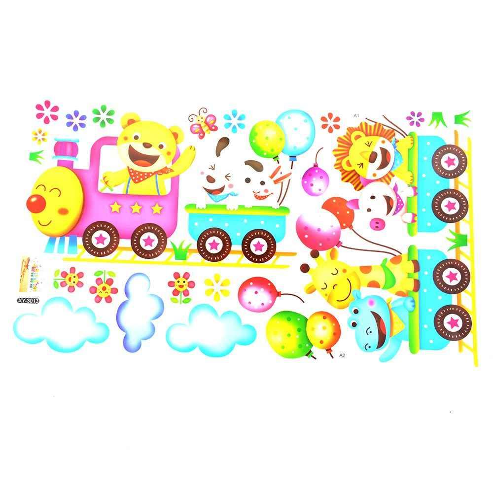 Bande dessinée Train Sticker Mural pour enfants chambre décor à la maison pépinière Sticker Mural enfants affiche bébé maison Mural bricolage décoration autocollants