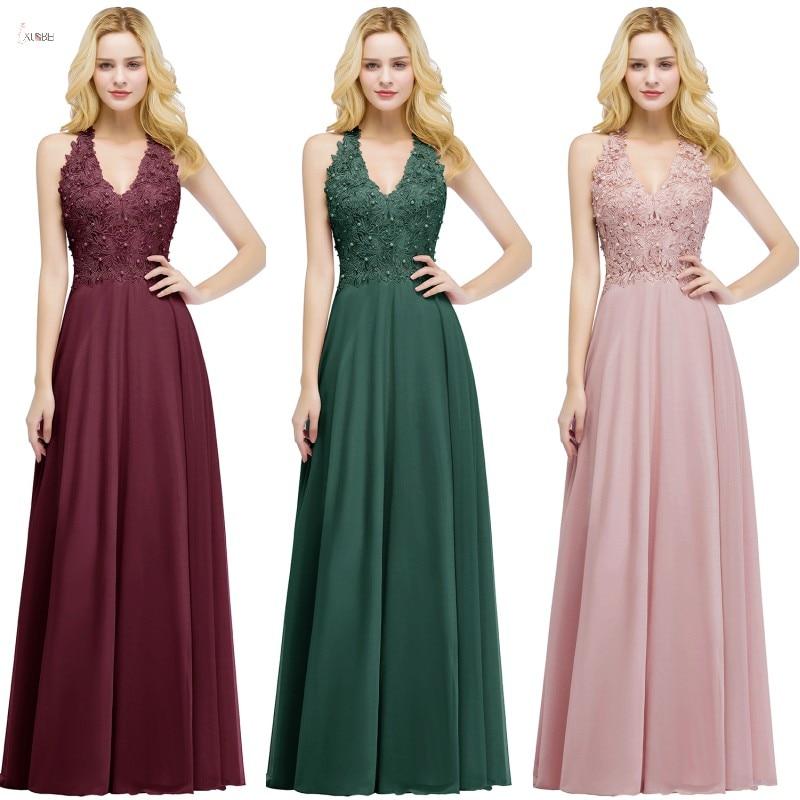 2019 Burgundy Chiffon Long Bridesmaid Dresses V Neck Sleeveless Applique Wedding Party Gown Vestido Madrinha