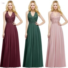 2019 Burgundy Chiffon Long Bridesmaid Dresses V Neck Sleeveless Applique Wedding Party Gown vestido madrinha chiffon sleeveless high neck cami top in burgundy