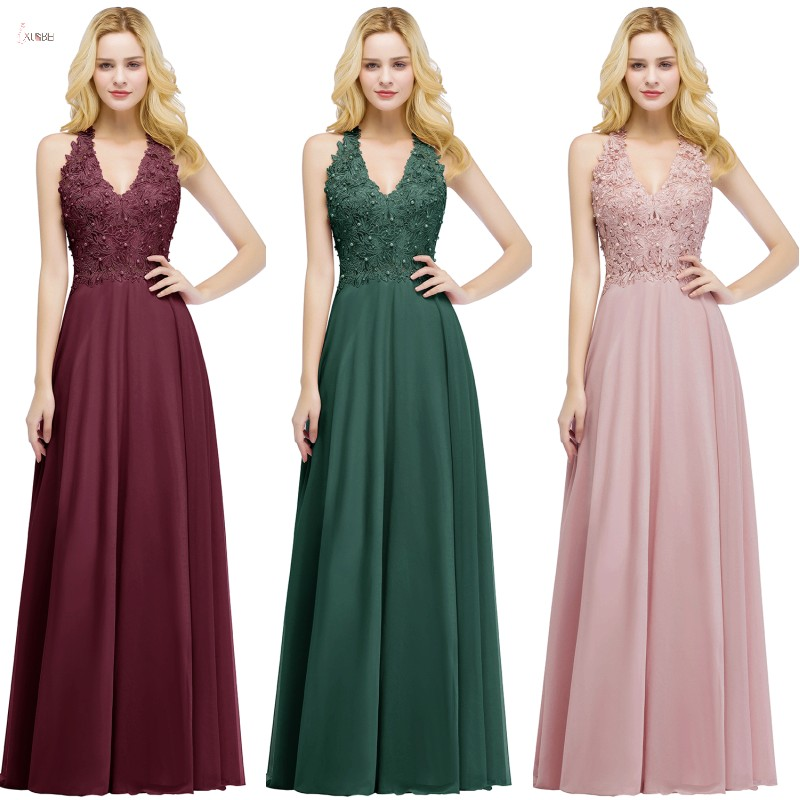 2019 Burgundy Chiffon Long   Bridesmaid     Dresses   V Neck Sleeveless Applique Wedding Party Gown vestido madrinha