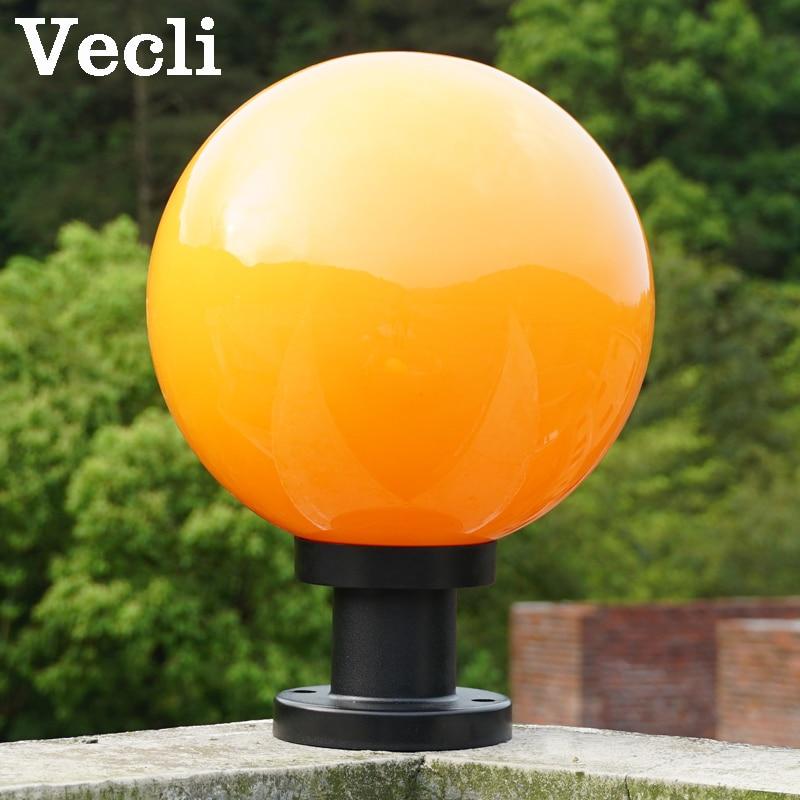 Ball shape waterproof outdoor E27 pillar light garden fence park residential lighting luminaire column lamps landscape lighting