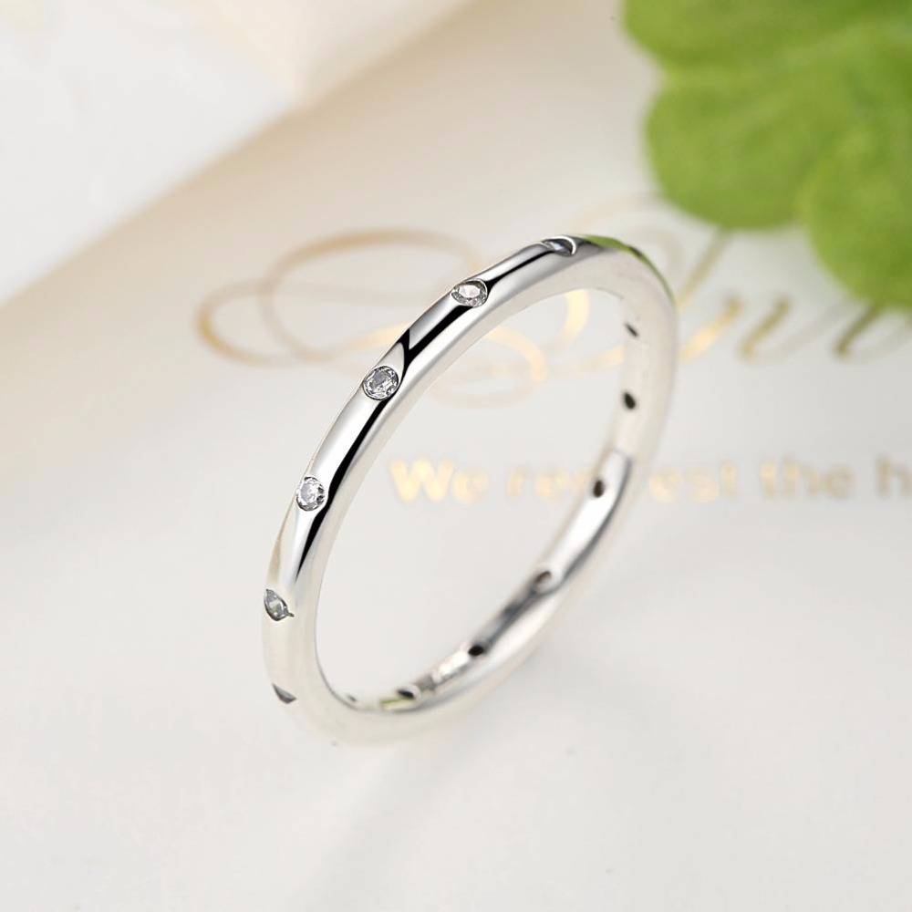 Valentines Day Deals 925 Sterling Silver Droplets Stackable Finger Classic Ring for Women Wedding Fine Jewelry