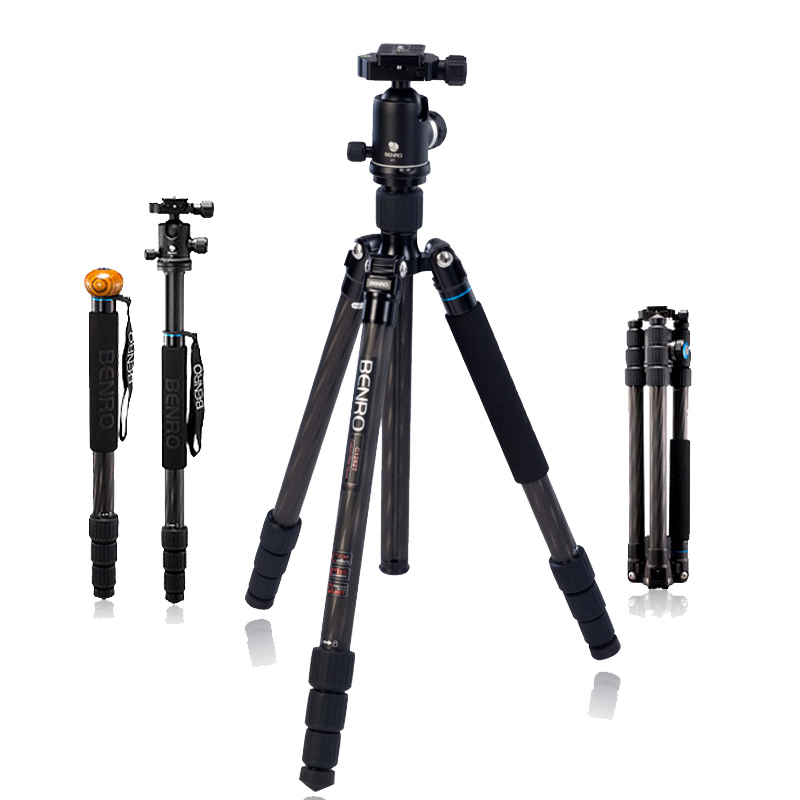 Benro C2282TV2 Tripod Carbon Fiber Tripods Flexible Monopod For Camera With V2 Ball Head Max Loading 18kg DHL Free Shipping gopro new benro c2692tb1s carbon fiber tripod impreaaion nip detachable monopod travel angel kit four in one free shipping