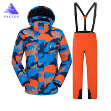 Ski Suit Men 2019 New Outdoor Mountain Ski Suit Men's Windproof Waterproof Thermal Snowboard Male Skiing Jacket  Snow Clothes недорого
