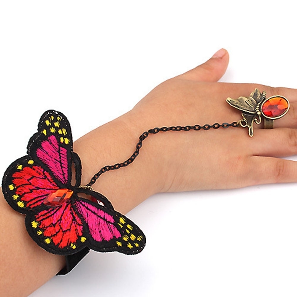 1 Pc Butterfly Slave Link Chain Rings Crystal Wrist Hand Harness Bracelet Bangle for Children Girl Women Party Jewelry