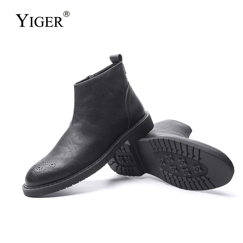 YIGER NEW Men Ankle Boots Genuine Leather Chelsea Man Boots Bullock Boots Fashion Four seasons Style