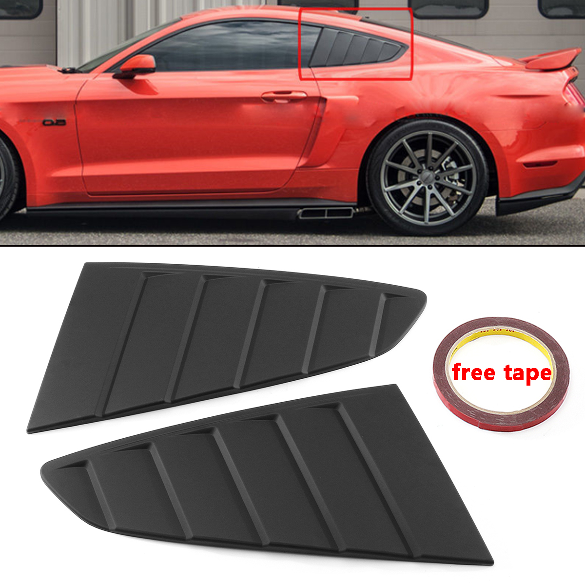 2x Car Window Quarter Louver Car Side Vent Scoop Cover For Ford For Mustang 2 Door 2015 2018 For Coupe Model GT C Style