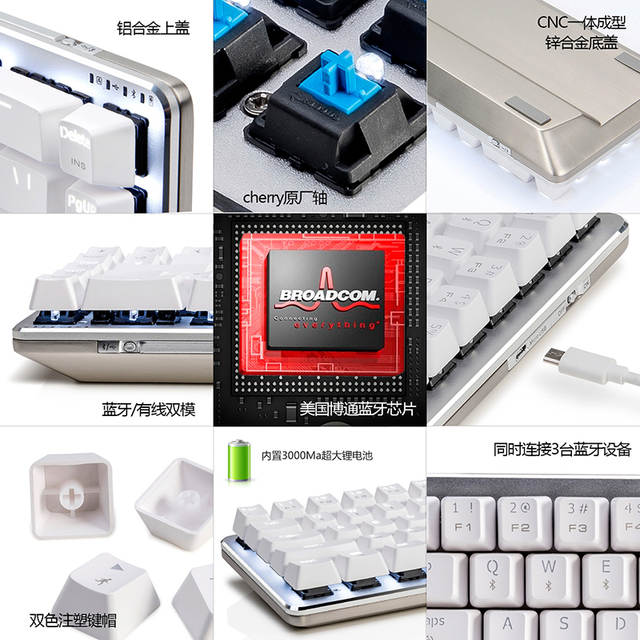 US $91 86 27% OFF|Ajazz Zinc 68 key wireless mechanical keyboard cherry  black / blue / brown switches metal body dual mode bluetooth white  backlit-in