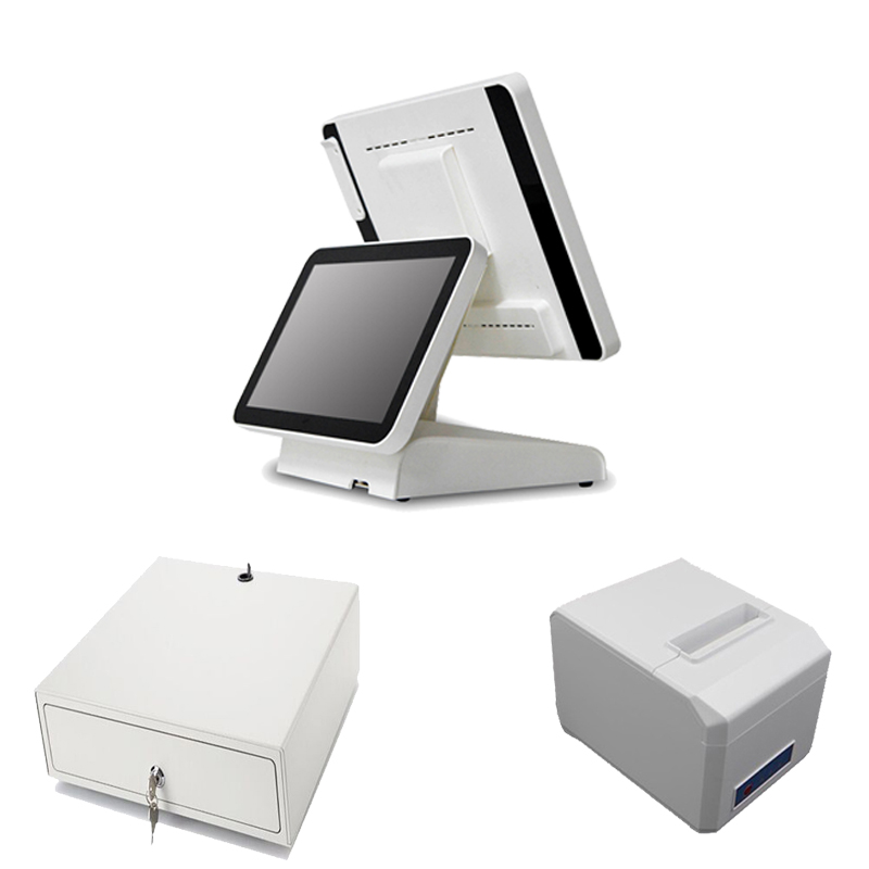 New 15 Inch Dual Touch Screen POS System i3 POS All in one Cash Register used in restaurant softeare receipt 1619D pos all in one nice quality hot sales 12 inch touch cash register pos machine 58mm receipt printer cash drawer barcode scanner