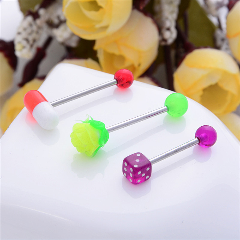 JETTING 16 PCS /lot mixed 316L surgical steel with koosh silicon true blue Piercing ROSE Tongue Bars