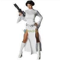 Star Wars Costume Princess Leia Cosplay Costume Girls Clothes Female Halloween Dress With Belt White Uniform